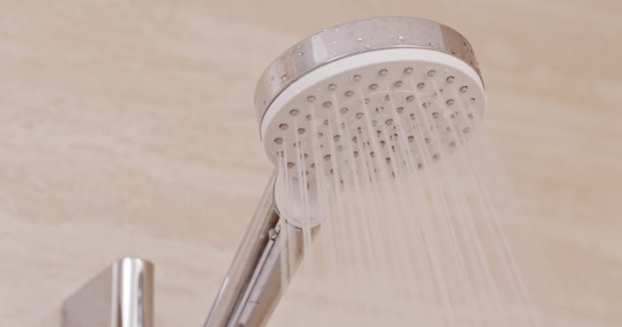 Hot shower powered by water heater