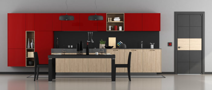 Red kitchen cabinets make the kitchen pop