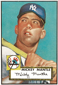 1952 Topps Mickey Mantle baseball card.