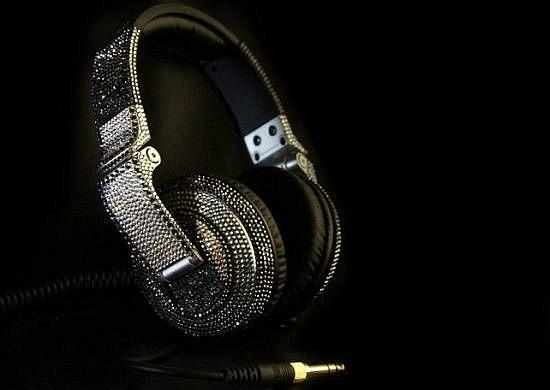 Blanco y Negro-Swarovski Headphones