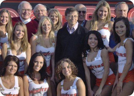 Warren Buffett and Bill Gates With Hooter Girls