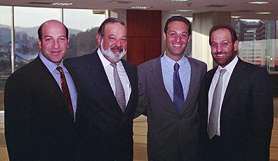 Carlos Slim and his three sons, (L to R), Patrick, Carlos and Marco Antonio Slim Domit.